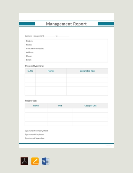 free management report template