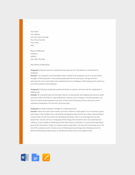 82 Recommendation Letter Examples Amp Samples Doc Pdf