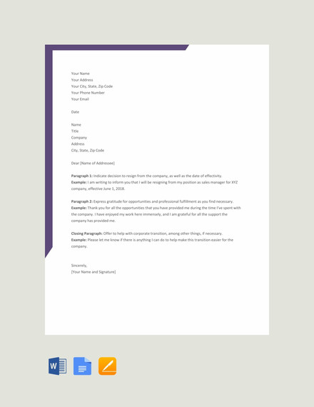 23 simple resignation letter examples pdf word