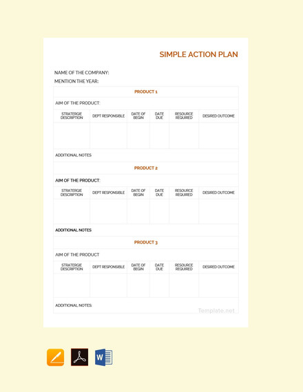free simple action plan template