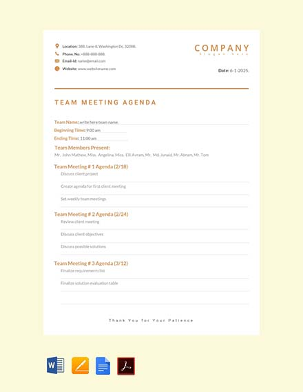 free team meeting agenda sample