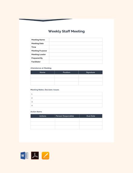 free weekly staff meeting sample