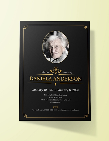 funeral invitation template sample