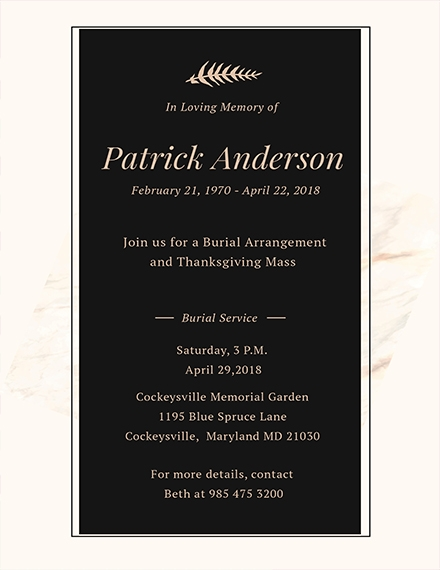 15 Funeral Invitation Examples Templates And Design Ideas