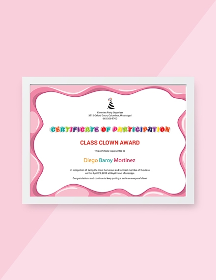 funny participation certificate