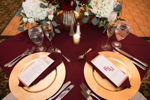 garnet and gold wedding place card