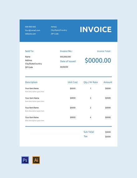 generic commercial invoice