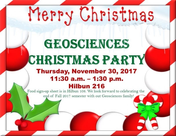 Geosciences Christmas Party Invitation
