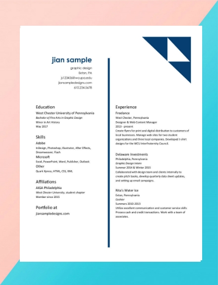 graphic designer creative resume