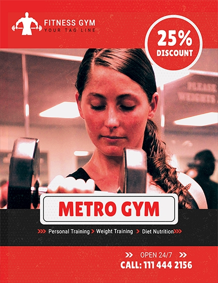 gym promotion flyer template