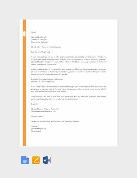 hr promotion letter sample