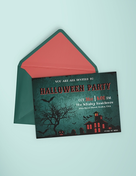 haunted house halloween party invitation template