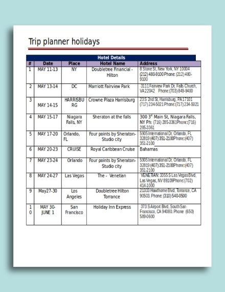 holiday itinerary planner