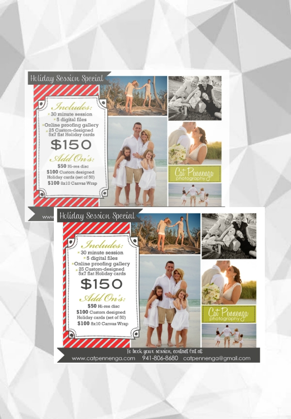 holiday mini sessions photography flyer