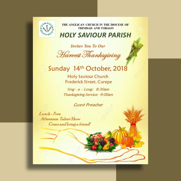 holy saviour thanksgiving harvest flyer