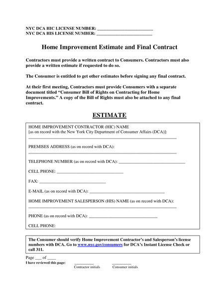 home improvement estimate sheet and final contract example