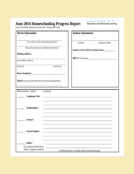 homeschool progress report card