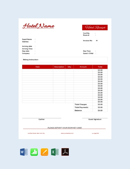 hotel cash receipt template
