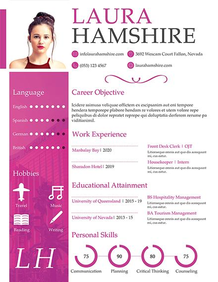 hotel job resume for fresher