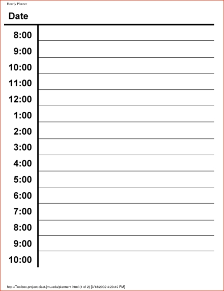 Handy image for printable hourly planners