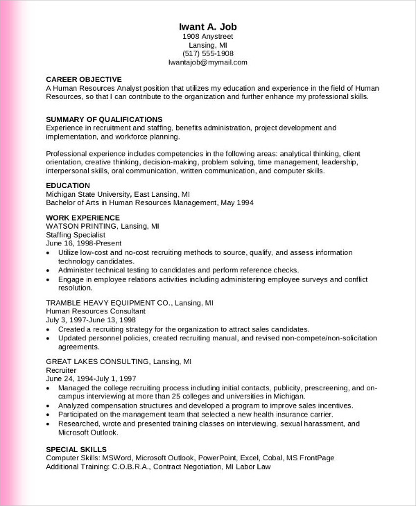 human resource analyst one page resume
