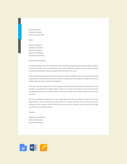 Immediate Resignation Letter Due To Illness Template