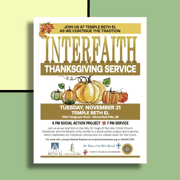 interfaith thanksgiving service flyer
