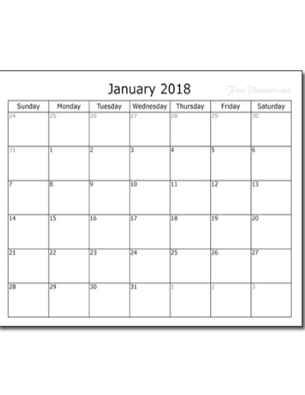 january 2018 monthly planner