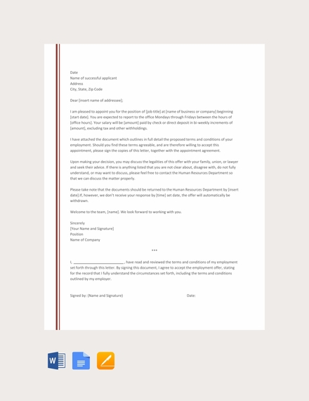 job appointment letter template for new employee