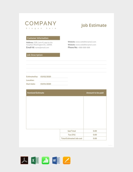 job estimate sheet template