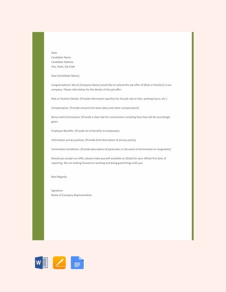 Job Offer Letter For Employers Template