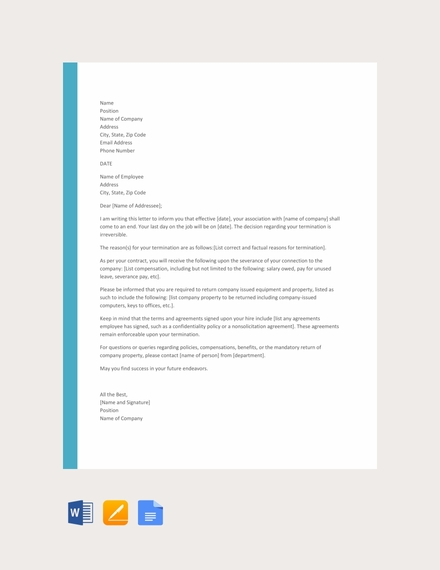 job termination letter template