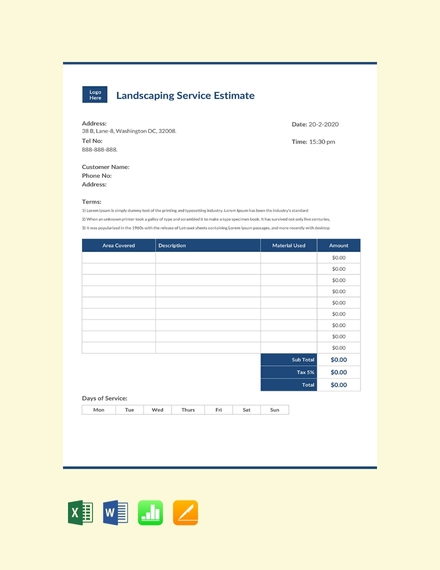 landscaping business estimate sheet template
