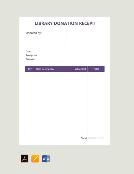 library donation receipt template