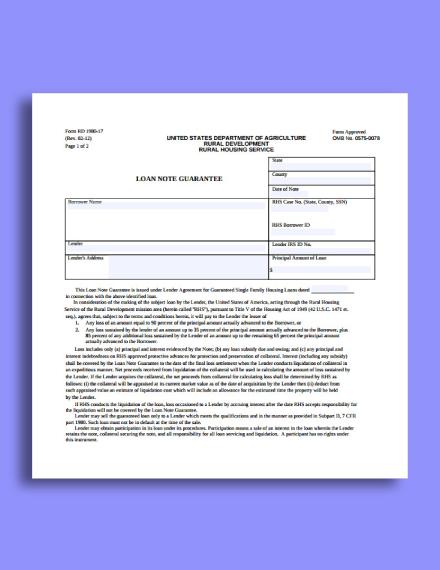 loan note guarantee example
