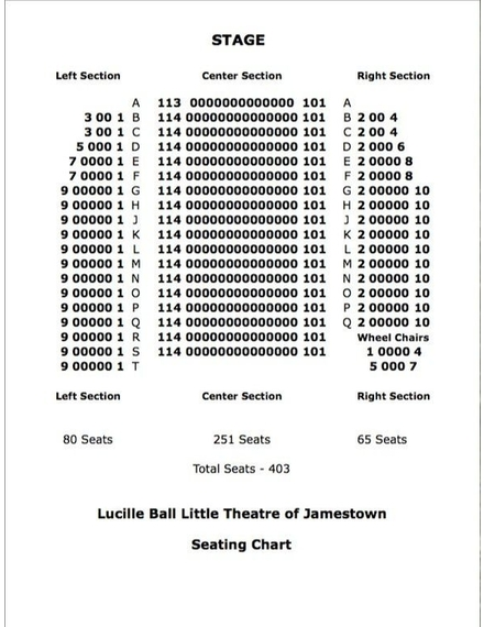 Lucille Ball Little Theatre Seating Chart