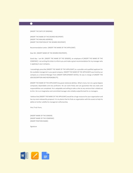 manager recommendation letter template