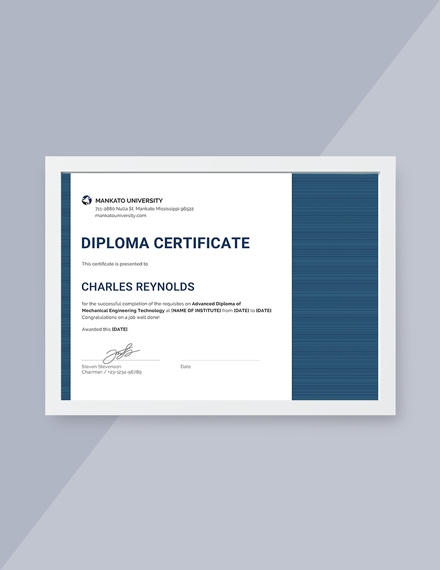 mechanical diploma certificate