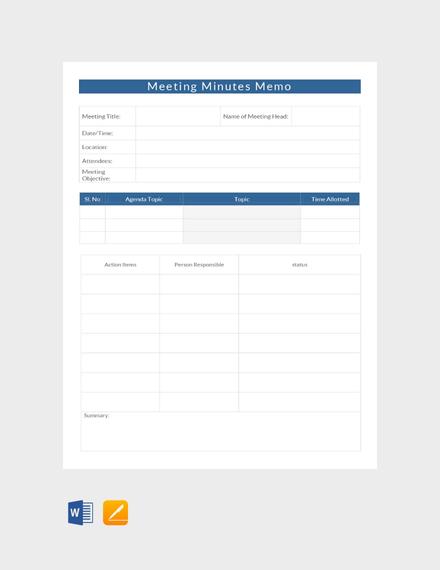 Meeting Minutes Memo