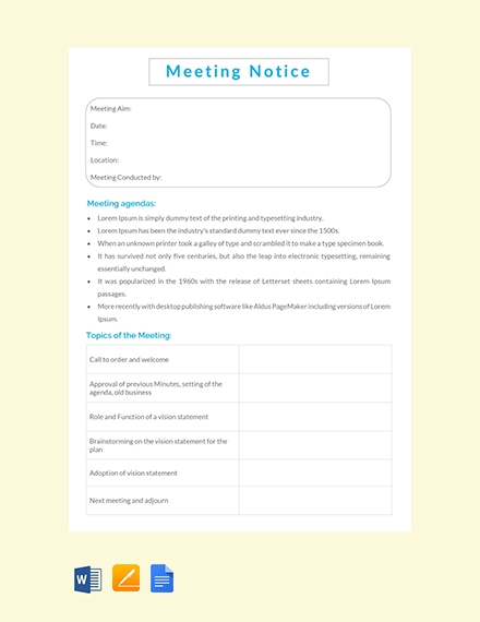 meeting notice template