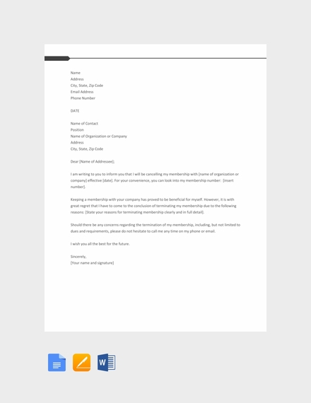 Membership Termination Letter Template
