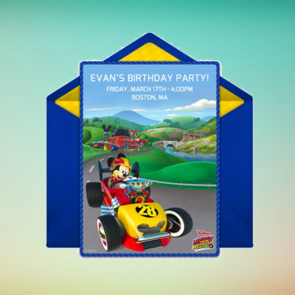 mickey mouse roadster birthday invitation