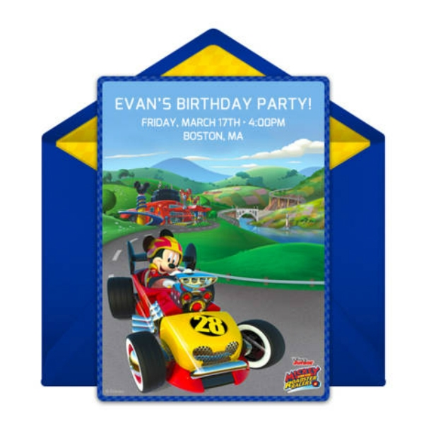 mickey mouse and the roadster racers party online invitation