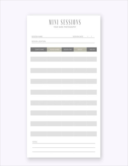 mini session sign up sheet