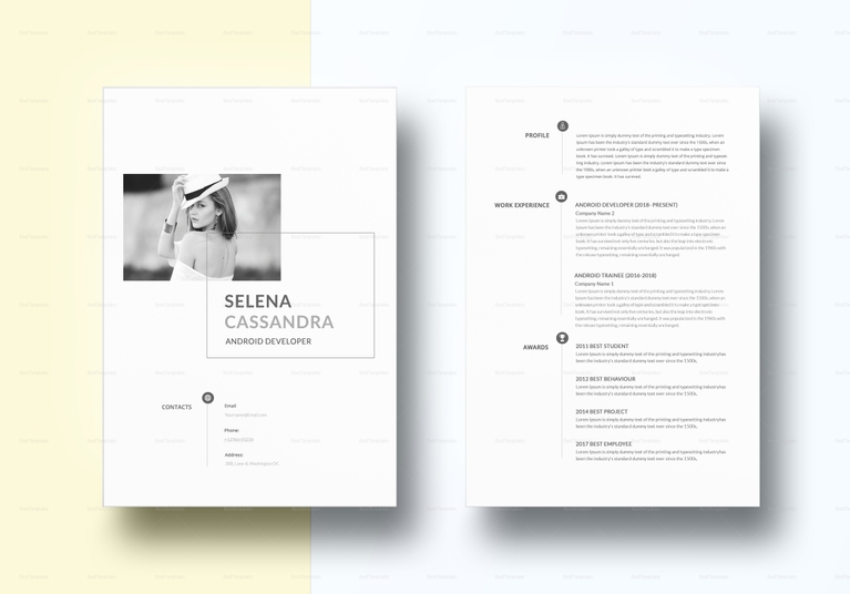 minimalist android developer resume template