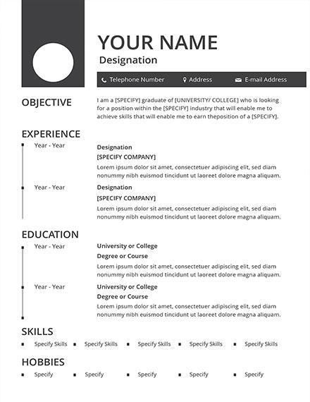 minimalist blank resume