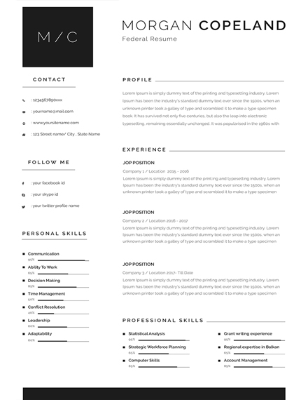 minimalist federal resume template