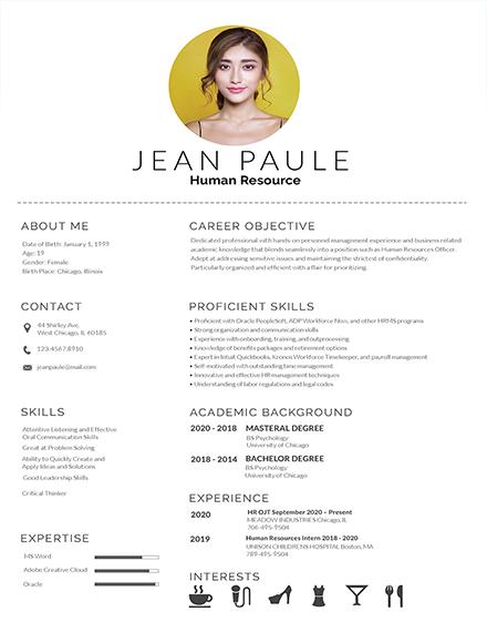 minimalist fresher resume