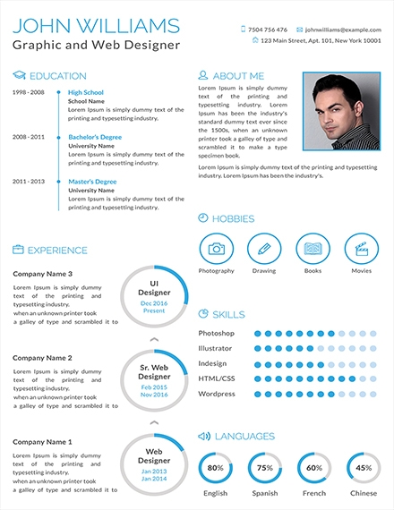 minimalist graphic and web designer resume