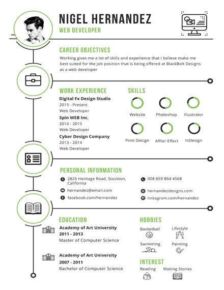 minimalist infographic resume template
